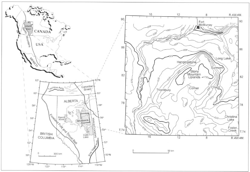 figure 1  location map for surmont area in athabasca oil sands region  northeastern alberta
