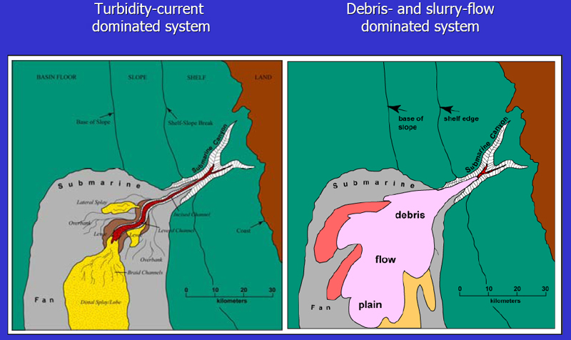 Hybrid submarine flows comprising turbidity current and ...