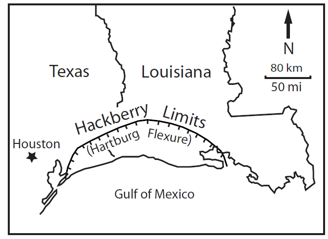 figure 8  diagram showing limits of the hackberry embayment  based on the hartburg flexure