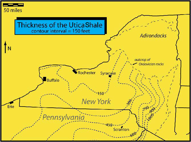 Figure 1 Map Showing The Thickness Of The Utica Shale In